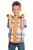 Kleine jongen met halters — Stockfoto