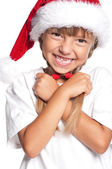 Little girl in Santa hat — Photo