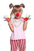Little girl with clown nose — Stock Photo