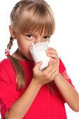 Bir bardak süt ile küçük kız — Stok fotoğraf