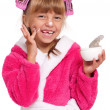 Stock Photo: Little girl in pink bathrobe