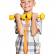 Little boy with dumbbells — Stock Photo #14897815