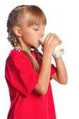 Niña con vaso de leche — Foto de Stock
