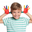 Little boy with paints on hands — Stock Photo #16028623