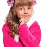 Little girl in pink bathrobe — Stock Photo #17376401