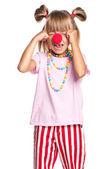 小丑鼻子的小女孩 — 图库照片