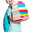 Little boy with books — Stock Photo