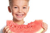 Boy with watermelon — Stock Photo