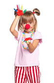 Little girl with clown nose — Stok fotoğraf