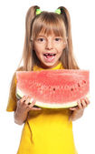 Little girl with watermelon — Stockfoto
