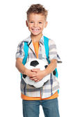 Garçon avec ballon de foot — Photo