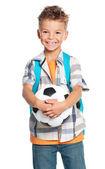 Niño con balón de fútbol — Foto de Stock
