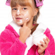 Little girl in pink bathrobe — Stock Photo