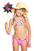 Little girl in swimsuit — Stock Photo