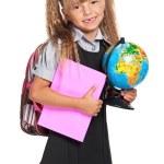 Little girl with globe — Stock Photo