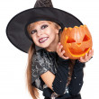 Little girl in halloween costume — Stock Photo
