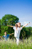 Happy children on meadow — Stock Photo
