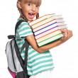 Little girl with backpack — Stock Photo