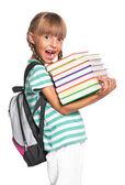 Liten flicka med ryggsäck — Stockfoto