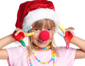 Little girl in Santa hat — Stock Photo