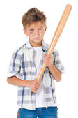 Boy with baseball bat — Stock Photo