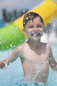 Boy at aqua park — Stock Photo