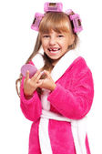 Little girl in pink bathrobe — Stock Photo