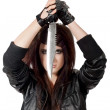 Woman holding knife — Stock Photo