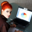 Redhead businesswoman with laptop — Stock Photo
