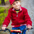 Little boy with bike at park — Stock Photo