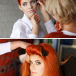Makeup artist preparing makeup and hair — Stock Photo
