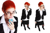 Confident redhead businesswoman calling set — Stock Photo