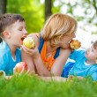Royalty-Free Stock Photo: Family eating apple in the nature