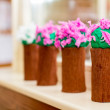 Colorful crape paper bouquet decoration in kindergarten — Stock Photo