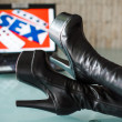Stock Photo: Sex, drug, rock and roll, black woman high heel boots