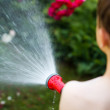 Little boy irrigate in garden — Stock Photo