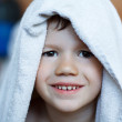 Cute child dry with towel — Stock Photo