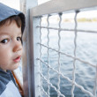 Little boy travel on ship — Stock Photo