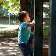 Little boy climbing on jungle gym side view — Stock Photo