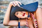Sexy woman in hat — Stock Photo