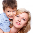 Stock Photo: Happy mother with son isolated