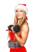 Sexy blonde fitness woman with barbell — Stock Photo