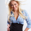 Blonde woman with blown hair — Stock Photo