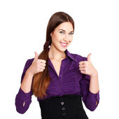 Happy businesswoman thumbs up and teeth smile — Stock Photo