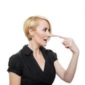 Kobieta z długim nosem — Zdjęcie stockowe