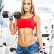 Woman lifting weights in a training session — Stock Photo #36511463
