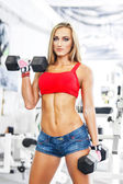 Woman lifting weights in a training session — Stock Photo