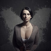 Neglected woman with wings — Stock Photo