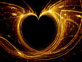 Gold glowing heart — Stockfoto