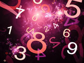 Numbers purple abstract background in space — Stock Photo